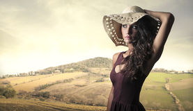 A pretty woman in the countryside stock photo