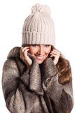 Pretty woman covered in blanket isolated Stock Image