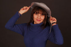 Pretty woman with cowboy hat Royalty Free Stock Photo