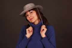 Pretty woman with cowboy hat Royalty Free Stock Images