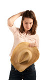 Pretty woman with cowboy hat Royalty Free Stock Photos