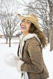 Pretty woman in cowboy hat. Stock Photography