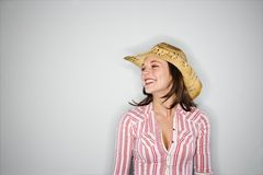 Pretty woman in cowboy hat. Royalty Free Stock Photos
