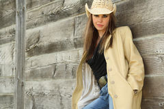 Pretty woman in cowboy hat Stock Image