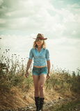 Pretty woman in cowboy hat. Outdoors Stock Photos