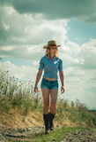 Pretty woman in cowboy hat. Outdoors Royalty Free Stock Images