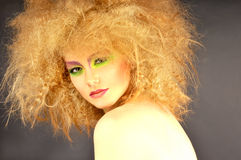 Pretty woman  with creative makeup and hairstyle. Royalty Free Stock Photography