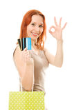 Pretty woman  with credit cards and shopping. Stock Image