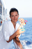 Pretty woman on a cruise Stock Image