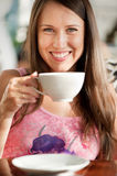 Pretty woman with cup of tea Stock Photo