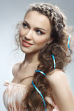 Pretty woman with curly hair. Pretty russian woman with curly hair royalty free stock photo