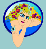 The Pretty woman with daisywheel. In hair Royalty Free Stock Image