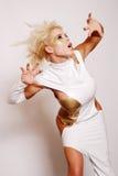 Pretty woman dancing Stock Photos