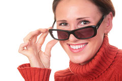 Pretty woman in dark glasses Royalty Free Stock Photography