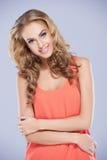 Pretty Woman in Dark Peach Sleeveless Top Stock Photos