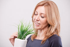 Pretty woman dealing with green economy Stock Image