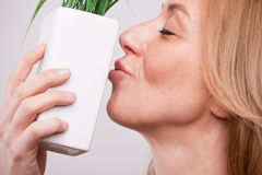Pretty woman dealing with green economy Stock Photography