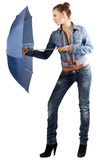 Pretty woman in a denim suit Royalty Free Stock Photo