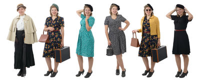 Pretty woman with different clothes 1940 Stock Photography
