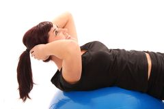 Pretty Woman Doing Exercises Stock Photos