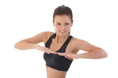 Pretty woman doing exercises smiling Royalty Free Stock Photo