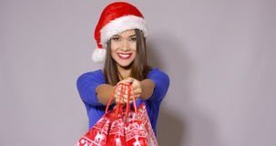 Pretty woman doing her Christmas shopping royalty free stock photos