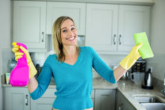Pretty woman doing her house chores. At home royalty free stock photos