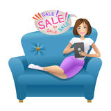 Pretty woman doing shopping online Royalty Free Stock Photo