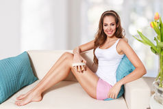 Pretty woman doing skin care at home Stock Photo