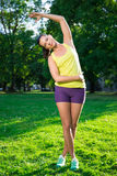 Pretty woman doing sport exercises in park Stock Images