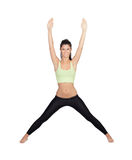 Pretty woman doing stretching into her workout Stock Image