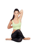 Pretty Woman Doing Stretching Into Her Workout