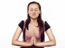 Pretty woman doing yoga Royalty Free Stock Photos