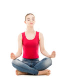 Pretty woman doing yoga exercise isolated Stock Photo