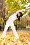 Pretty woman doing yoga exercises Stock Photos