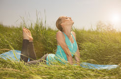 Pretty woman doing yoga exercises on the grass. Woman doing yoga exercises on the grass Stock Image