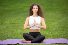 Pretty woman doing yoga meditation in the lotus Stock Images