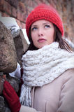 Pretty woman dreaming look  with red cap Royalty Free Stock Photos