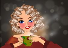 Woman drinking royalty free illustration