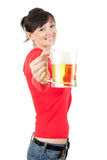 Pretty woman drinking beer from the mug Royalty Free Stock Photo