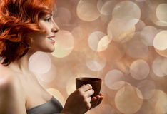 Pretty woman drinking coffee Royalty Free Stock Photo