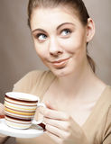 Pretty woman drinking coffee Royalty Free Stock Photography