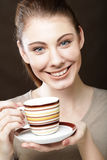 pretty woman drinking coffee Stock Photos