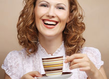Pretty woman drinking coffee Royalty Free Stock Photos