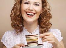 Pretty woman drinking coffee Royalty Free Stock Photos