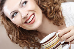 Pretty woman drinking coffee Stock Photo