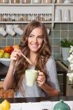 Pretty woman drinking tea Royalty Free Stock Photo
