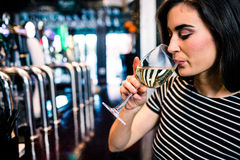 Pretty woman drinking wine Stock Images