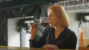 Pretty woman drinks wine and smiles to the bartender. 4K stock video footage