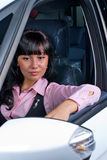 Pretty woman - driver. Woman Sitting In Car Getting Ready To Drive Stock Photography
